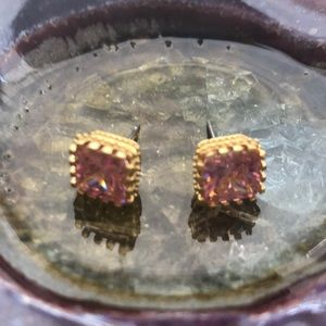 Pink and gold rhinestone square stud earrings